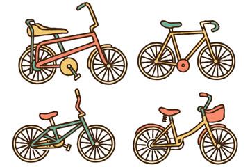 4款复古自行车设计矢量素材