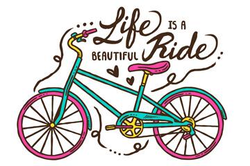 彩绘拼色自行车矢量素材
