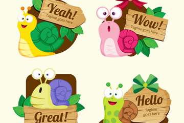 4款卡通蜗牛语言标签矢量素材