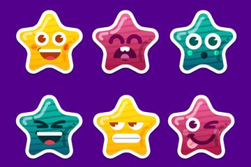 6款彩色星星表情贴纸矢量素材