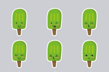 9款绿色雪糕表情贴纸矢量素材