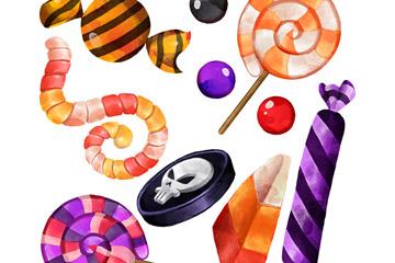 10款彩绘万圣节糖果矢量素材