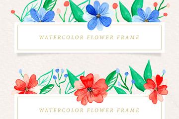 2款彩绘花卉框架矢量素材