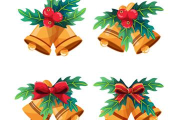 4款彩绘圣诞节铃铛矢量素材