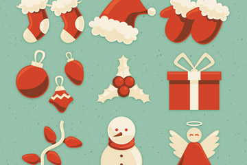 9款红色圣诞节图标矢量素材
