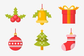 9款扁平化圣诞节物品图标矢量图