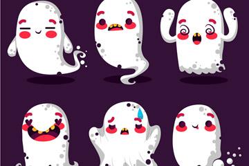 6款卡通幽灵设计矢量素材