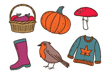 6款彩色秋季元素矢量素材
