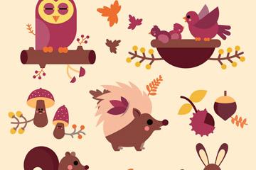 5款卡通秋季动物矢量素材