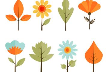 8款扁平化树叶和花卉矢量素材