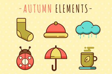 9款可爱秋季元素图标矢量素材