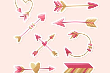 8款粉色箭头贴纸矢量素材