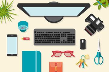 创意办公桌面俯视图矢量素材