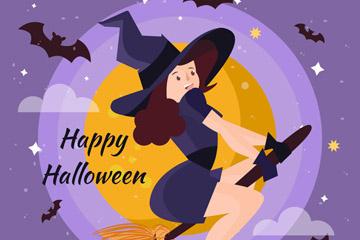 卡通骑魔法扫帚的女巫矢量素材