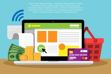 创意网上支付元素用品矢量素材