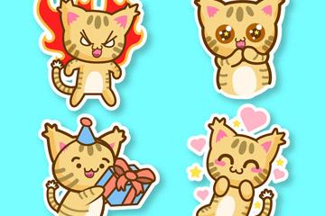 4款可爱猫咪贴纸矢量素材