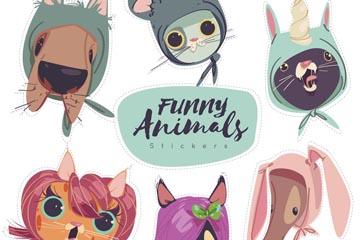 6款彩绘有趣的动物头像矢量素材