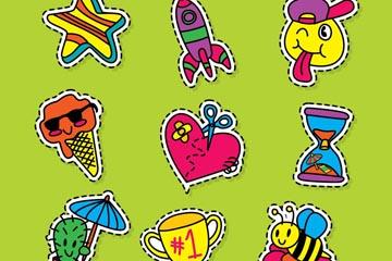 9款彩色可爱物品贴纸矢量素材