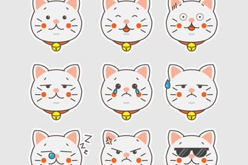 9款可爱白色猫咪表情头像矢量素