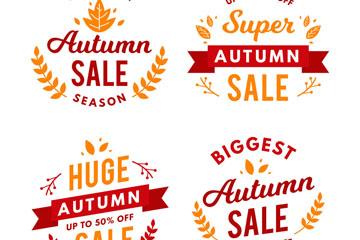 4款创意秋季促销标签矢量素材