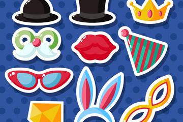 10款彩色派对配饰贴纸矢量素材