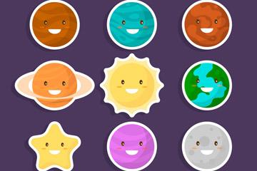 9款彩色星球表情贴纸矢量素材