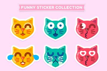 9款有趣的猫咪表情头像贴纸矢量素材