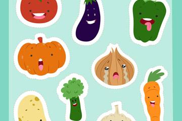 9款可爱表情蔬菜贴纸矢量素材