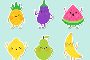 6款可爱表情水果贴纸矢量素材