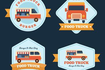 4款创意快餐车标签设计矢量图