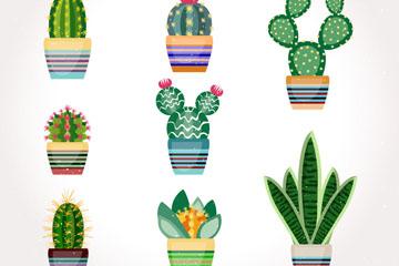 8款水彩绘仙人掌盆栽矢量素材