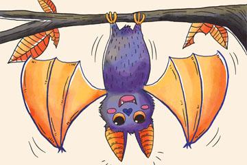 彩绘倒挂在树干上的蝙蝠矢量素材