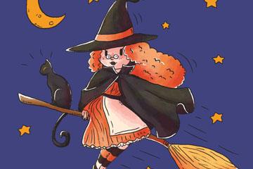 彩绘巫婆和黑猫矢量素材