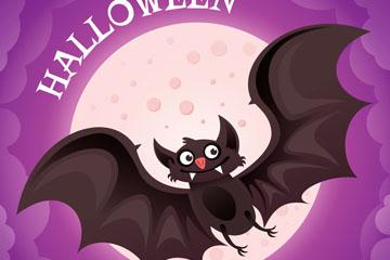 卡通万圣节夜晚蝙蝠矢量素材