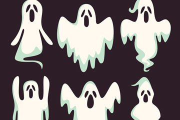 6款白色幽灵设计矢量素材