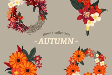 4款彩色秋季花环设计矢量素材