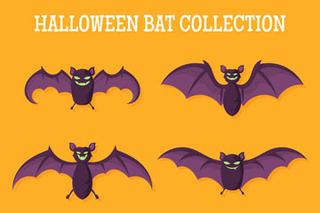6款卡通万圣节蝙蝠矢量素材