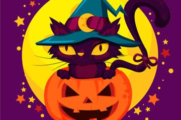 卡通南瓜头里的黑猫矢量素材