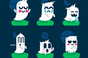 6款可爱卡通幽灵设计矢量图