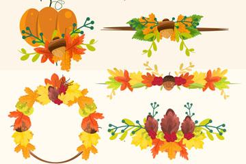 5款彩色秋季花环和花束矢量图
