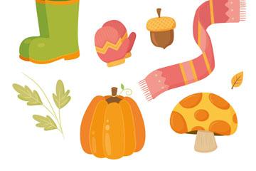 8款彩色秋季元素矢量素材