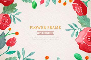 彩绘玫瑰花框架设计矢量素材