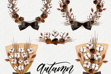 5款水彩绘秋季棉花花环和花束矢量图