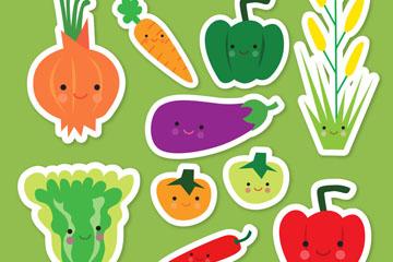 10款有趣的蔬菜贴纸矢量图