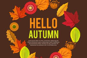 彩色秋季花环设计矢量素材