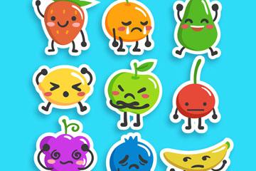 9款彩色表情水果贴纸矢量图