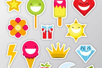 15款彩色微笑物品贴纸矢量图