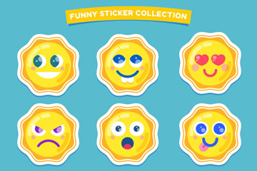 9款黄色太阳表情贴纸矢量素材
