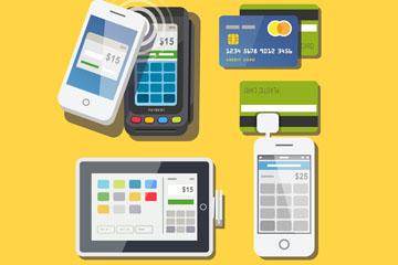 4款创意手机支付方式图标矢量素材