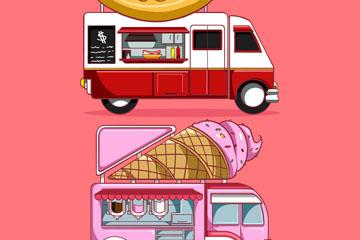 2款彩绘可移动餐车设计矢量素材